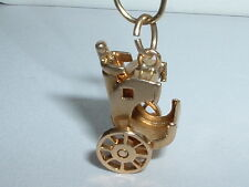 VINTAGE 14K YELLOW GOLD 3D MOVEABLE CARRIAGE BUGGY CHARM