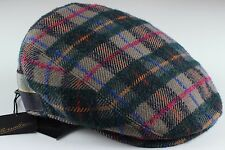 NWT BORSALINO IVY cap newsboy wool checks blue beige luxury Italy EU 57 US 7 1/8