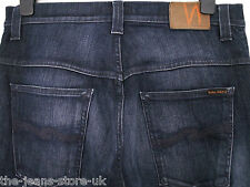 MENS NUDIE THIN FINN ORG WORN DARK NAVY JEANS NJ3433 W34 L34 (2651)