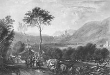 Yorkshire HORNBY CASTLE VALLEY COWS ~ TURNER 1875 Landscape Art Print Engraving