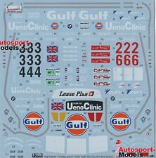 1/24 1996 McLaren F1-GTr Gulf #33/#34 Le Mans decal set by TABU~ 24045 1:24th
