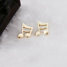 Free Gift Bag Gold Tone Quaver Music Note Stud Earrings Ladies Jewellery Xmas