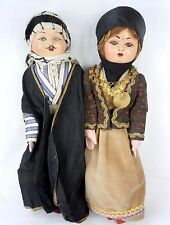 Vintage Middle East Turkey Composition and Cloth Dolls All Original 17""