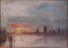 ANTIQUE ABSTRACT AMERICAN IMPRESSIONIST WPA NH ARTIST EAST COAST HARBOR PAINTING