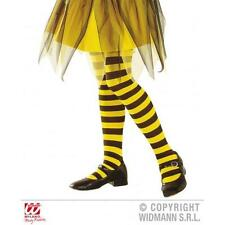 Childrens Yellow & Black Striped Tights Girls Bumble Bee Fancy Dress 7-10 Yrs