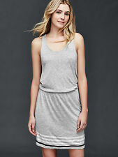 GAP Women Dress XS Heather Gray Striped Sleeveless Racerback Blouson Knit New