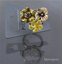 Vintage Andersen PILGRIM Ring FAVOURITES Flower Gold/Brown Swarovski BNWT