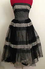 Vintage Rockabilly Black Polka Dot Zombie Prom Party Halloween Dress-AS IS-Small