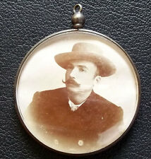 EXQUISITE OLD DOUBLE SIDED PHOTO LOCKET FOB PENDANT MAN WOMEN SILVER BOMBE GLASS
