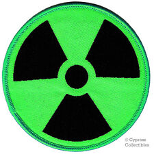 NUCLEAR RADIATION SYMBOL new EMBROIDERED IRON-ON PATCH GREEN RADIATION ZOMBIE
