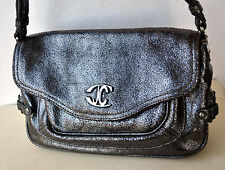 Roberto Just Cavalli Designer Distressed Metallic Leather Handbag Bag Purse Rare