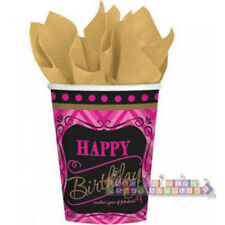 BORN TO BE FABULOUS 9oz PAPER CUPS (8) ~ Birthday Party Supplies Pink Beverage