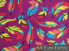 Polar Fleece Fabric Print COLORFUL FEATHERS PURPLE BACKGROUND  Sold By The Yard