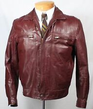 Vtg CHESS KING BROWN LEATHER FIGHT CLUB MOTORCYCLE 38 40 JACKET MOD RETRO