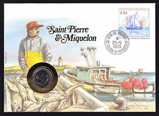 Numisbrief 1989 RF French Saint Pierre & Miquelon Stamp Cover with Coin
