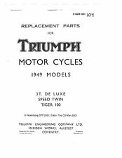 Triumph Parts Manual Book 1949 3T De Luxe, Speed Twin 5T & Tiger 100 T100