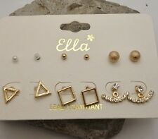Set of 6 Earrings Pearl & Gold Ball Triangle Square Stud Crystal Ear jacket Cuff