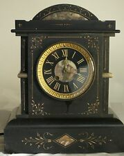 ANTIQUE MARBLE INLAID CLOCK WITH ANTIQUE UPDATED SYNCHRONIZING ELECTRIC MOTOR