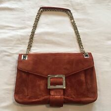 ROGER VIVIER Metro Suede Shoulder Bag Cross body Purse Copper Orange Adobe $2500