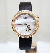 NEW Rotary Watch Ladies Rotating Flower mother of Pearl Brown Leather RRP £180