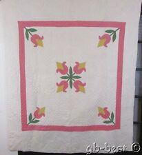 Cottage 30s Tulip Applique QUILT Vintage FINE QUILTING Pink Yellow