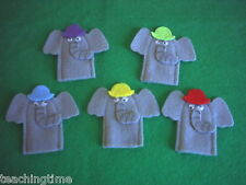 5 Grey elephants finger puppet set with song words