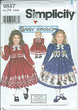 "S 9847 sewing pattern Daisy Kingdom DRESS & JACKET +18"" Doll CLOTHES sew 3,4,5,6"