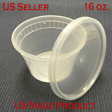240 Sets Deli Food Round Containers Soup Cup Plastic 16 oz. (with Lids)
