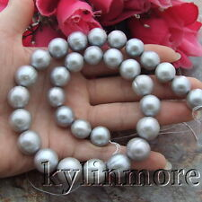 12mm-14mm Gray Round Keshi Freshwater Cultured Pearl Loose Beads Strand 15.5""
