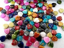 180pcs 10mm Acrylic Gold Striped HEART Water Color Beads - 10 ASSORTED MIX