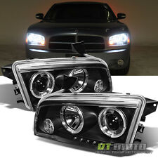 2006-2010 Dodge Charger LED Halo Projector Headlights Lamps Left+Right 07 08 09
