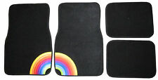 Colorful Rainbow Pride Black Carpet Car Universal 4 pc Floor Mats