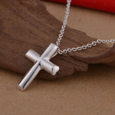 Simple Cross Necklace, 925 Sterling Silver Plate. Crucifix Pendant Jesus Easter
