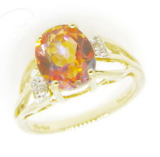 Ladies 10k Yellow Gold Orange Mystic Topaz & Diamond Gemstone Estate Ring