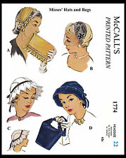 Vintage Millinery HAT & BAG Fascinator Fabric Sew Material Pattern McCall # 1774