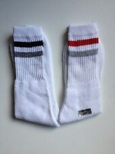 MENS COTTON SPORTS SOCKS WHITE WITH 2 STRIPES  2 PAIRS SIZE 6 - 11
