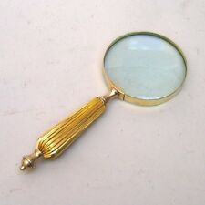 "9.5"" BRASS MAGNIFYING GLASS HANDLE - NAUTICAL - HAND HELD MAGNIFIER - OFFICE"