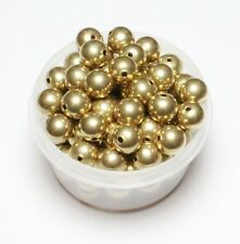 10MM  SOLID  Smooth BRASS ROUND SEAMLESS HOLLOW BEADS 10 PCS. HOLE 2 MM