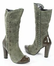 """Restricted Midcalf Suede Steampunk Granny Victorian Boots Wingtip 4"""" Heels 7.5"""