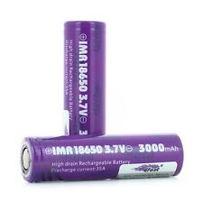 2-Purple Efest IMR18650 3000mAh 35A HighDrain Rechargeable Battery-FAST SHIPPING