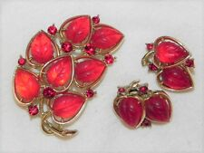 Vintage Lisner Red Thermoset Lucite Leaf Rhinestone Pin Brooch Clip Earring Set