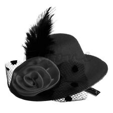 Feather Rose Mini Ladys Top Hat Cap Lace fascinator Hair Clip Costume Accessory
