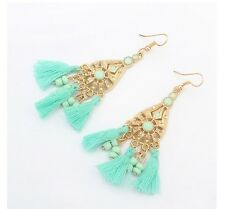 AQUA DROP ETHNIC BEAD TASSLE TASSEL LIGHT CHANDELIER HIPPY EXOTIC BOHO EARRINGS
