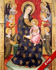 MARY, JESUS & ANGELS PLAYING MUSIC PAINTING BIBLE CHRISTIAN ART CANVAS PRINT
