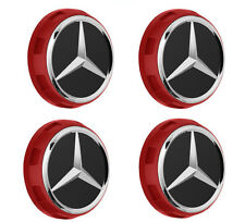 NEW OEM Mercedes AMG 75mm Red Surround Wheel Center Caps 4 pcs A00040009003594