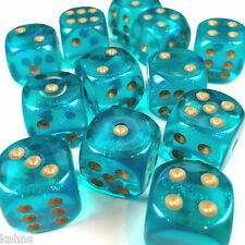 Chessex Dice Block d6 12 pcs 16mm - Borealis Teal w/ Gold - 27686 FREE BAG