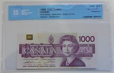 1988 Bank of Canada $1000 Note CCCS Certified UNC-66 Gem Uncirculated Changeover