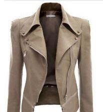 Irregular Women Ladies Leather Lapel Long Sleeve Zip Blazer Biker Jacket Coat