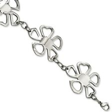 Ladies Chisel Stainless Steel 30mm Polished Flowers Bracelet 8""