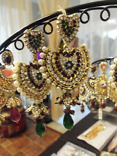 BOLLYWOOD FASHION EARRINGS  DESIGNER PEARL CRYSTAL EARRING FREESHIP USA SELLER